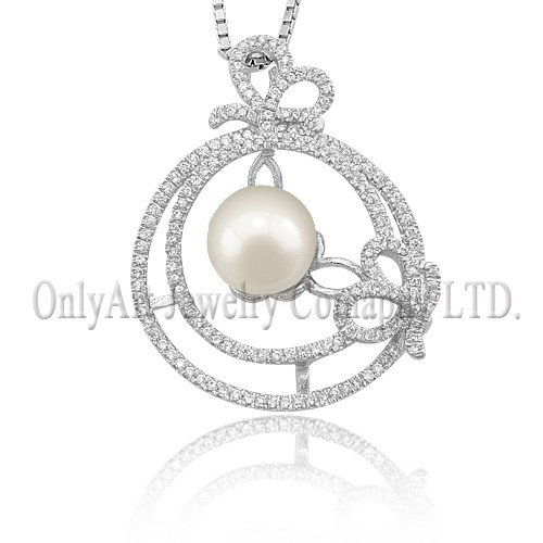 round nature freshwater pearl pendat 925 silver necklace