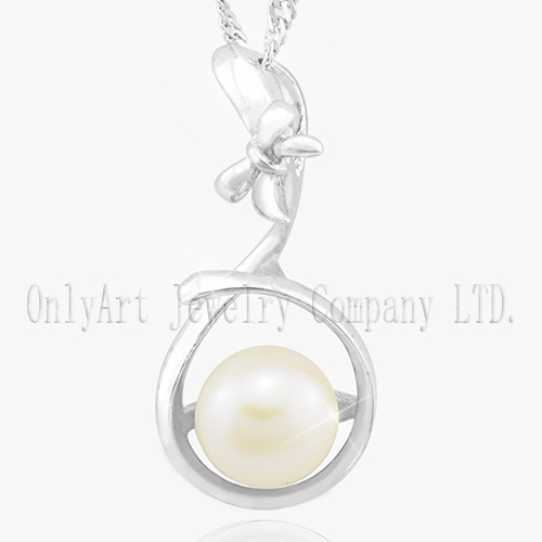 Hot Sale Shiny Polished And Rhodium Plated 925 Sterling Silver Pearl Pendant