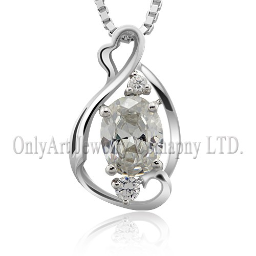 sterling silver 9.25 pendant with color changable CZ on necklace
